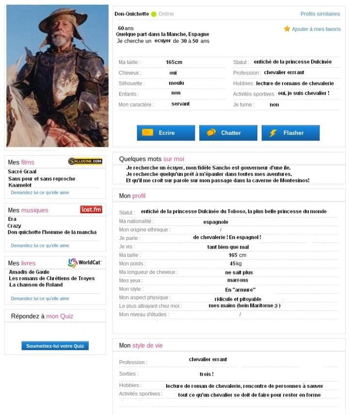 Le profil meetic de Donquichotte