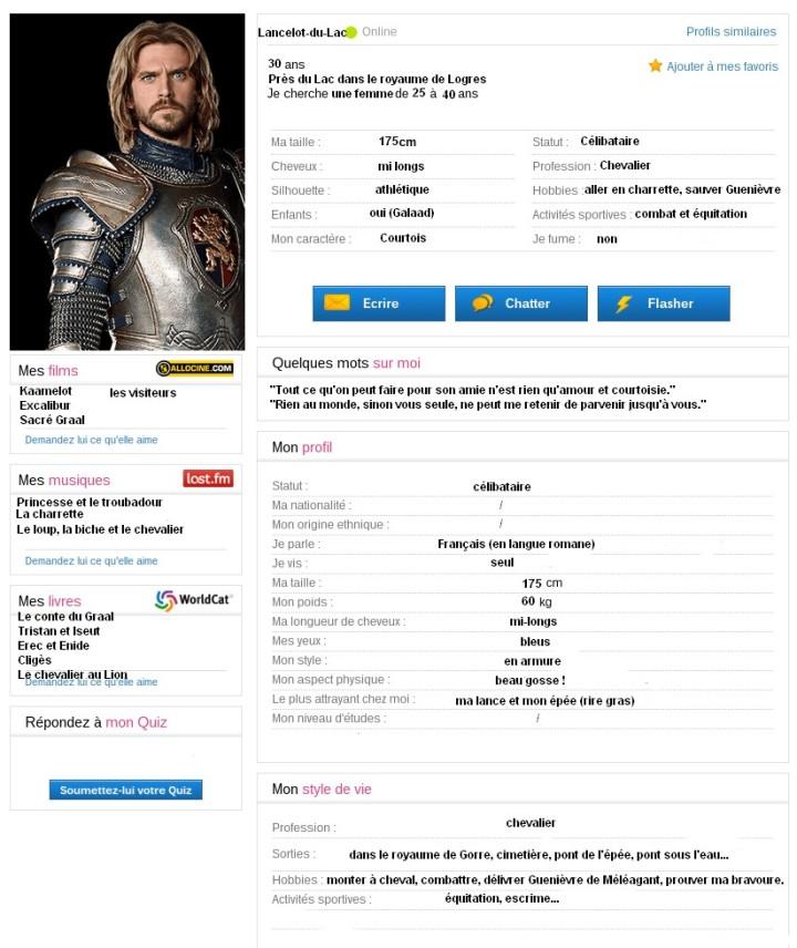 le profil meetic de Lancelot