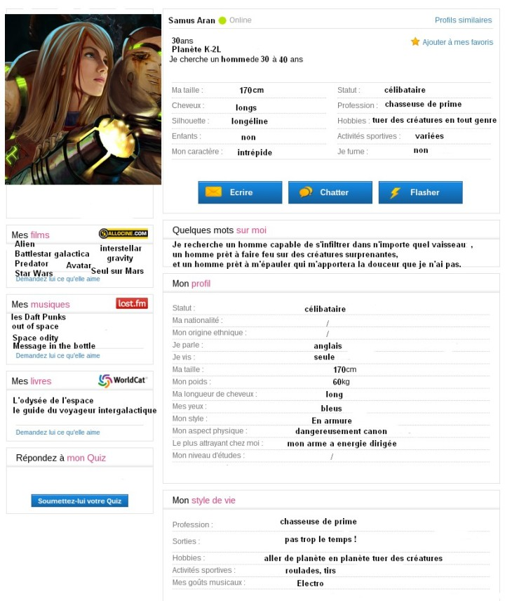 Profil meetic de Samus