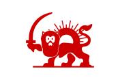 Le lion et soleil rouge sur fond blanc @wikipédia