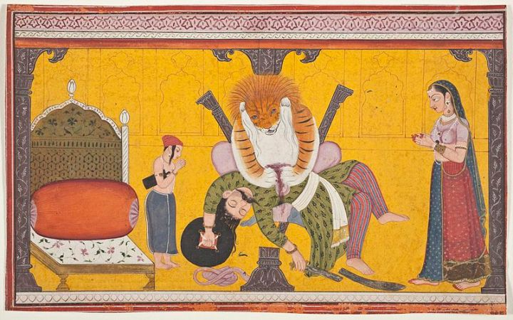 800px-Narasimha_Disemboweling_Hiranyakashipu,_Folio_from_a_Bhagavata_Purana_(Ancient_Stories_of_the_Lord)_LACMA_M.82.42.8_(1_of_5)