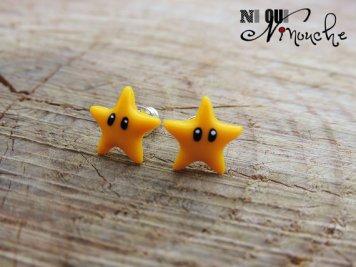 Boucles d'oreille Etoiles de Mario. Ni Oui Ninouche sur Etsy.