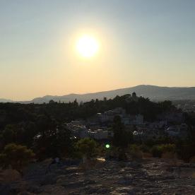 Vue d'Athènes depuis la petite colline près de l'Acropole